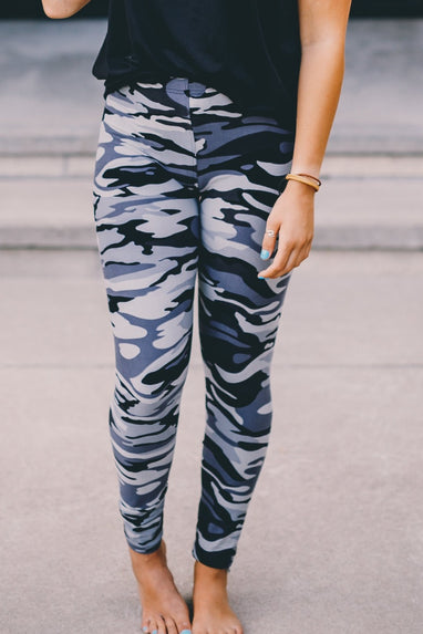 Camo Print Leggings -One Size (Grey)