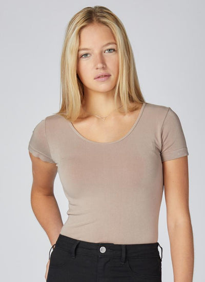C'EST MOI Bamboo Scoop Neck Top (Taupe)