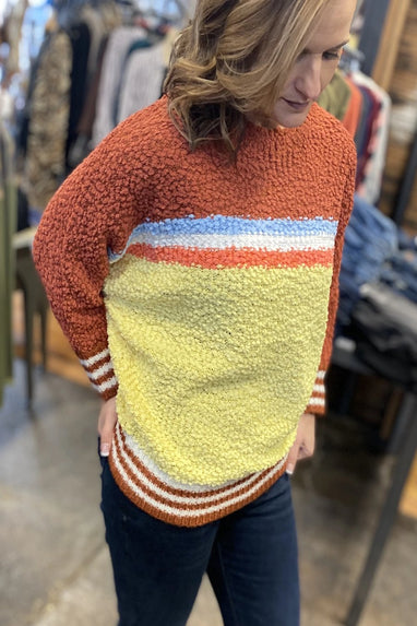 Striped Popcorn Sweater (Rust Multi)