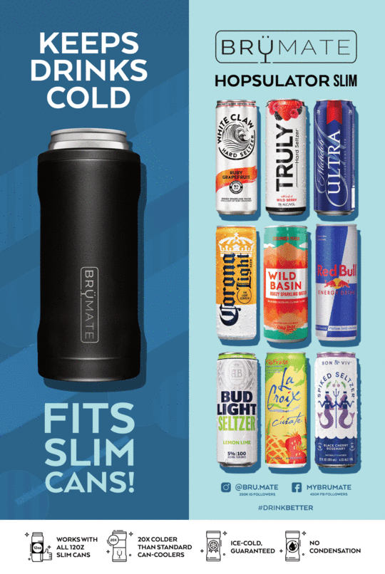 BruMate Hopsulator Slim Can Cooler (Aqua)