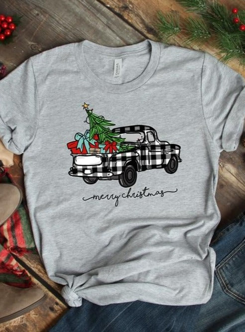 Plaid Truck Christmas Tee (Grey)