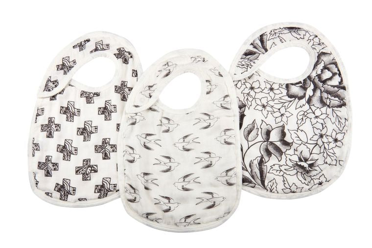 Set of 3 Snap Baby Bibs (Black/White)