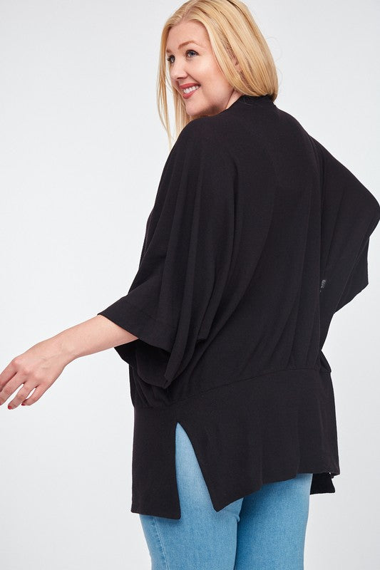 PLUS 3/4 Sleeve Brush Knit Cardigan (Black)