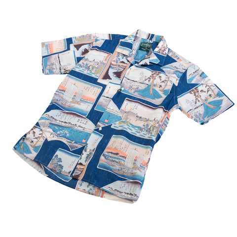 Gitman Vintage Postcard Camp Shirt Blue