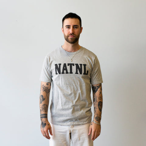 "National Athletic Goods Athletic Tee ""NATL"" Mock Twist Jersey Ash Grey"