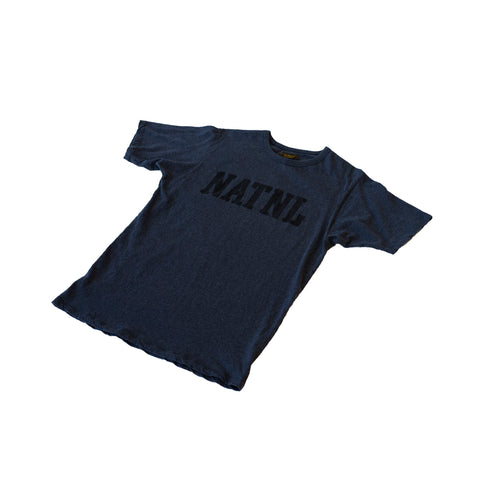 "National Athletic Goods Athletic Tee ""NATL"" Mock Twist Jersey Navy"