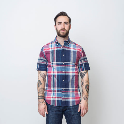 Gitman Vintage Plaid Madras Navy