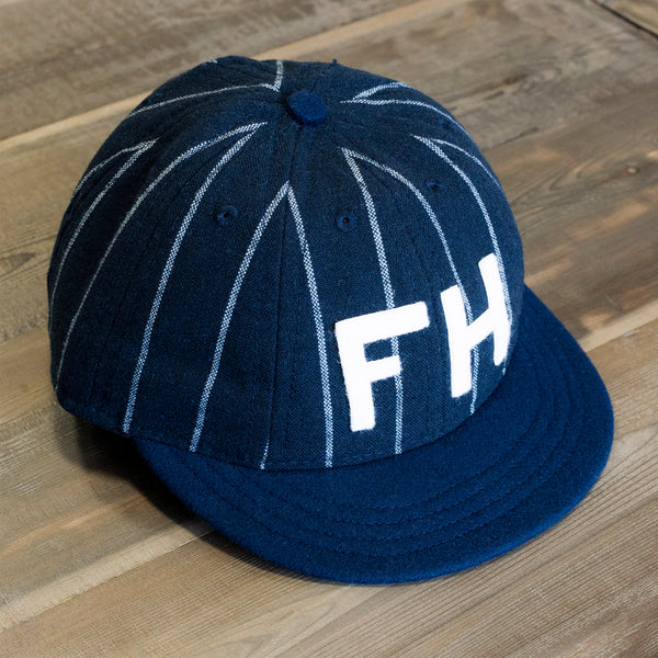 The Foxhole x Ebbets Field Flannels 8 Panel Fitted Navy/Cream Pinstripe Wool