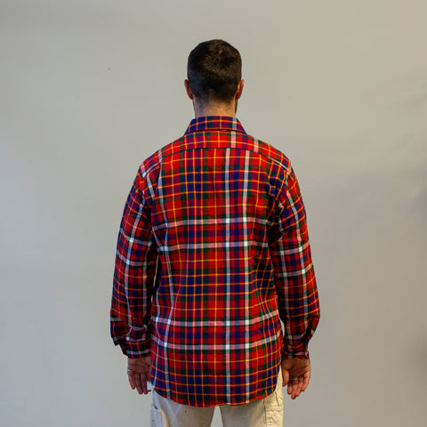 Model wearing Engineered Garments Work Shirt Cotton Twill Plaid