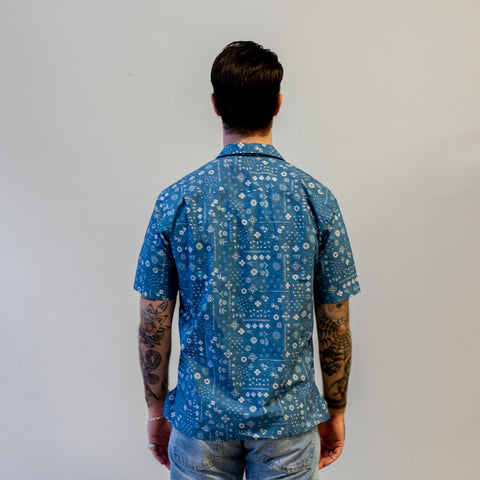 Gitman Vintage Blue Indigo Bandana Camp Shirt