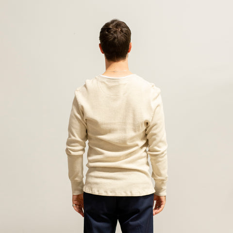 Homespun Knitwear Coalminer Henley Mil-Spec Thermal Oatmeal