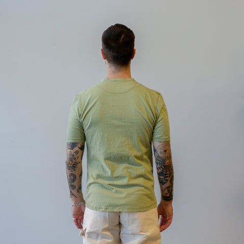 Homespun Knitwear Coalminer Henley Short Sleeve Recycled Cotton Jersey Safari
