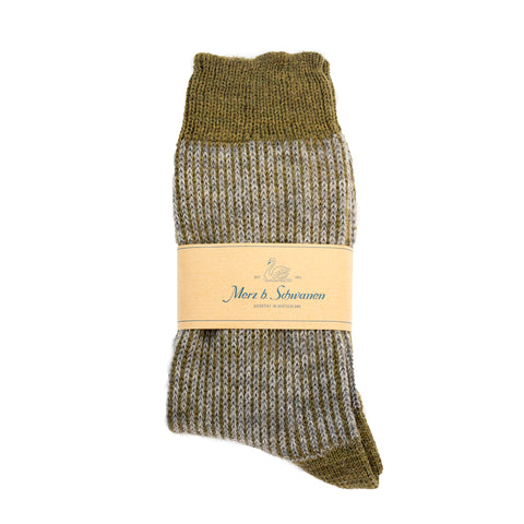 Merz b. Schwanen S77 New Wool Socks Army Grey Melange