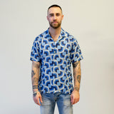Gitman Vintage Gio Ponti Camp Shirt Linen Blues