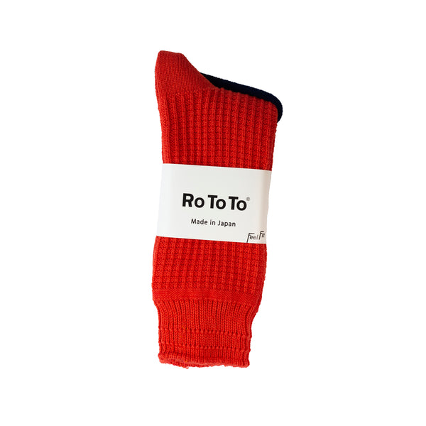 RoToTo Cotton Waffle Socks Poppy Red