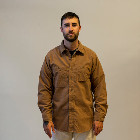 Model wearing Engineered Garments Work Shirt Khaki Solid Cotton Flannel