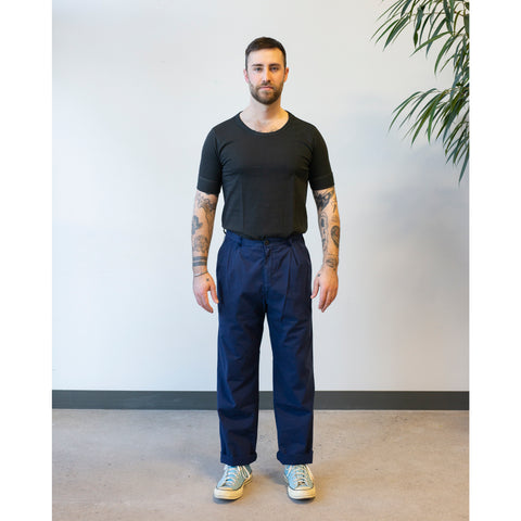Stan Ray Wide Leg Pleated Chino Century Navy