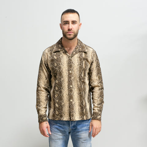 Style Eyes Snake Corduroy Sports Shirt Off White