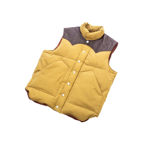 Sugar Cane Leather Yoke Down Vest Beige