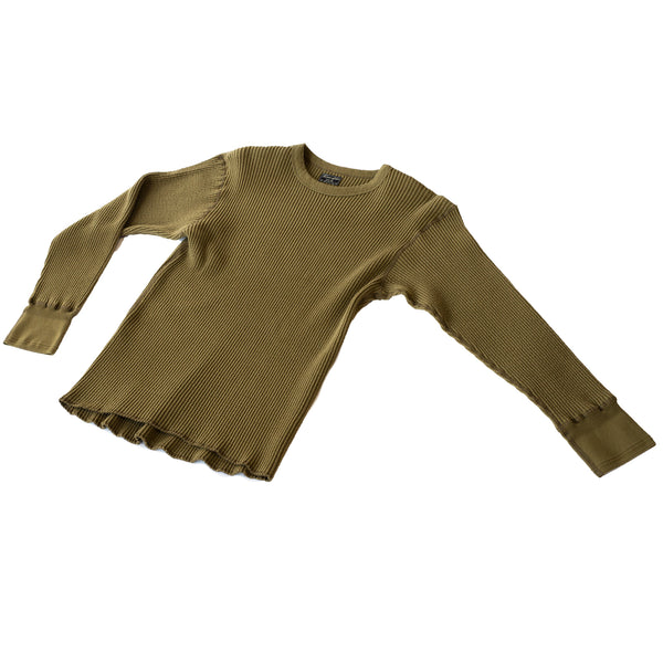 Homespun Knitwear Crew Thermal Bulky Waffle Hunter Olive
