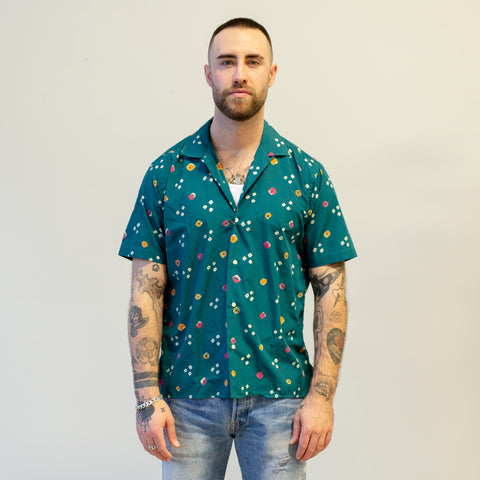 Gitman Vintage Classic Bandhani Cloth Camp Shirt Green