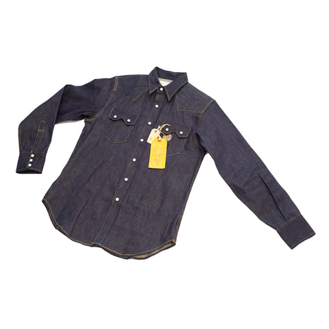 Sugar Cane Fiction & Romance Denim Western Shirt Navy