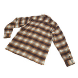 Sugar Cane Shaggy Wool Check Open Shirt Beige