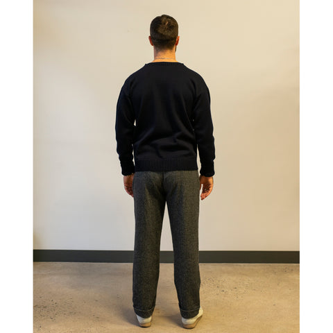 Model wearing Engineered Garments Andover Pant Grey