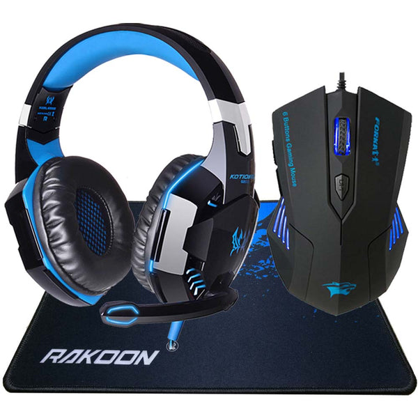 Noise Cancelling LED Stereo Gaming Headphones with Deep Bass Game + Gaming Mouse + Gaming Mouse Pad