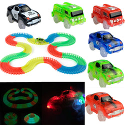 Glowing car race track set for kids