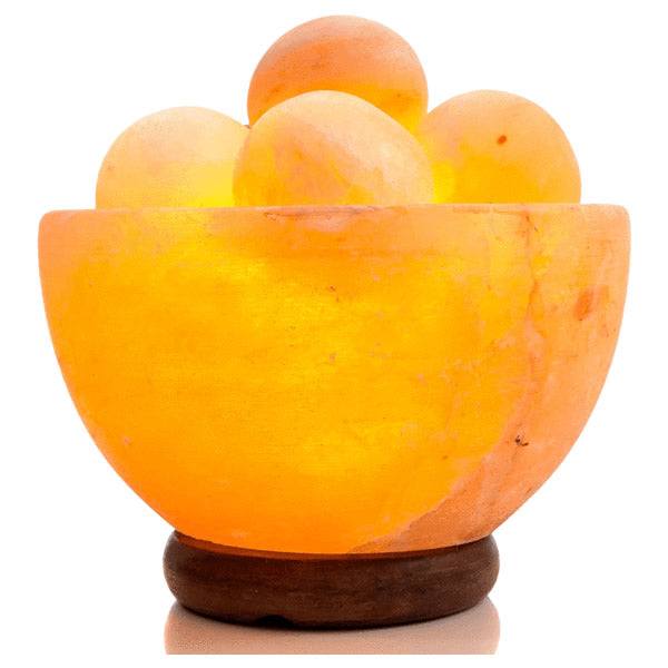 Rakaposhi Natural Himalayan Salt Rock Lamp Bowl with Salt balls