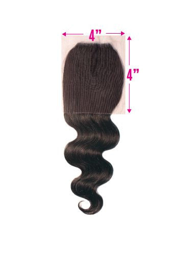 BRAZILIAN REMY LACE CLOSURE HALF HAND TIED 4X4 - Malaysian Wave