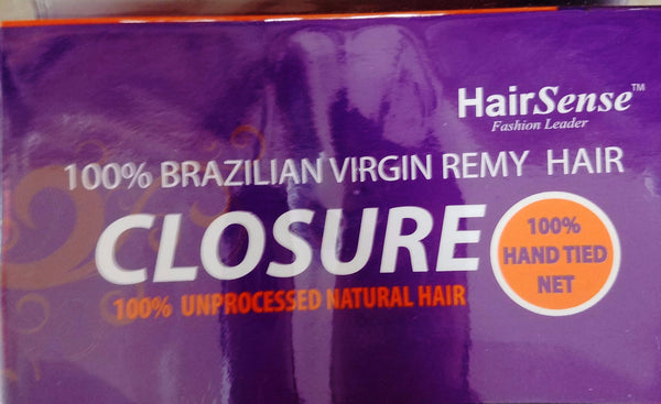 "HairSense 100% Unprocessed Brazilian Hand Tied 14"" Closure"