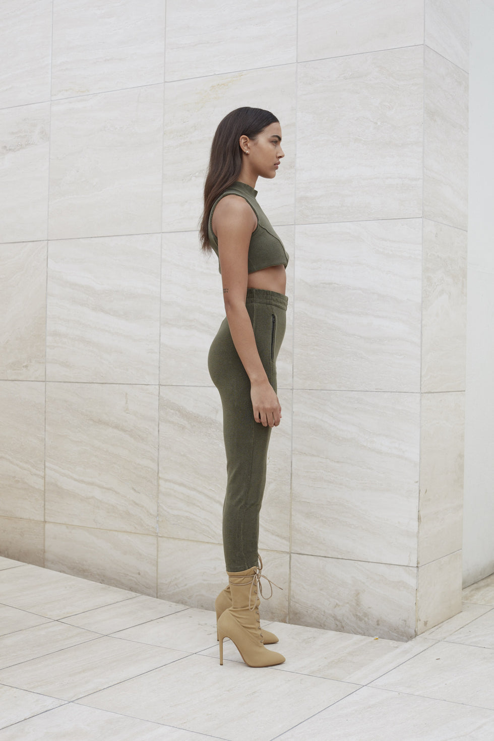 WOMENS TERRY CROP TOP ARMY