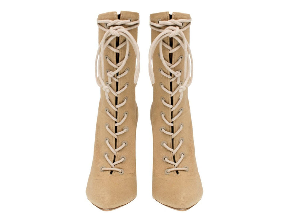 STRETCH CANVAS LACE UP BOOT DOLLAR