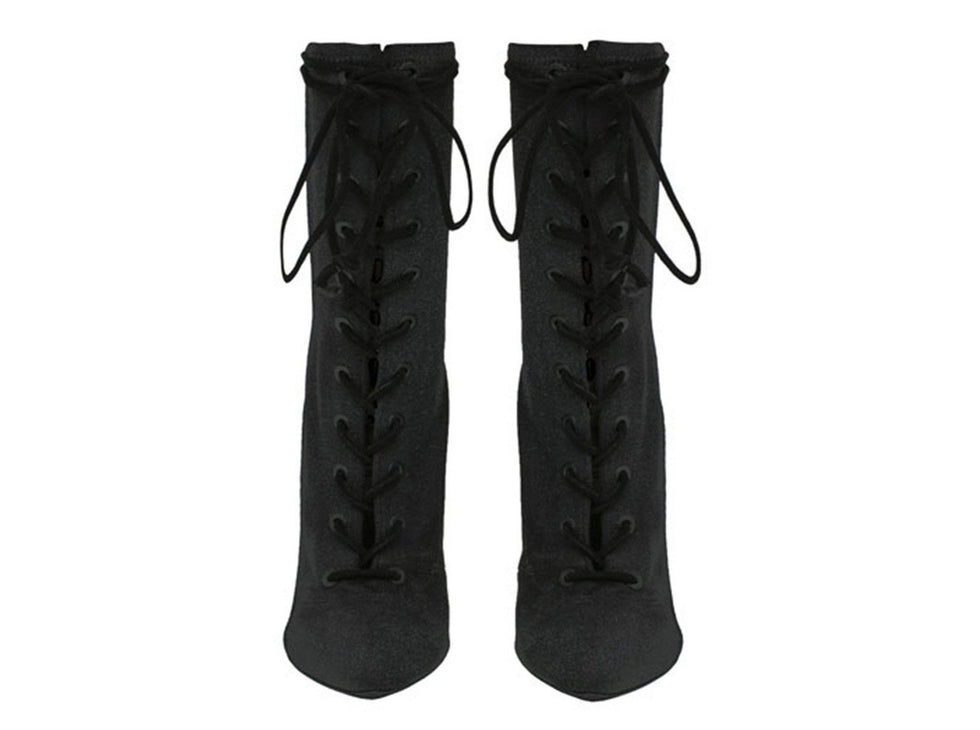 STRETCH CANVAS LACE UP BOOT BAT