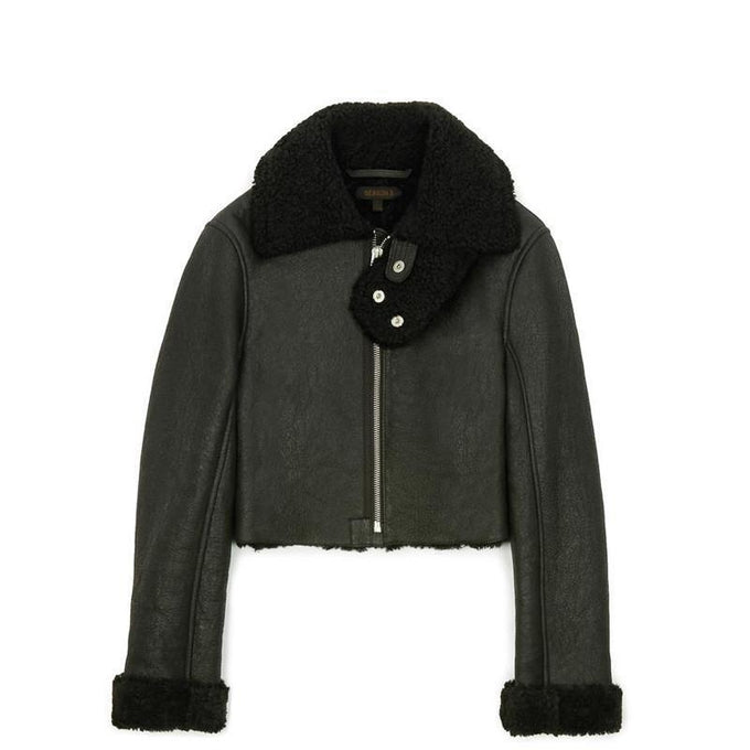 CROPPED SHEARLING FLIGHT COAT TRUE ONYX