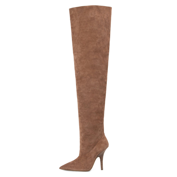 SUEDE TUBULAR THIGH HIGH BOOTS UMBER