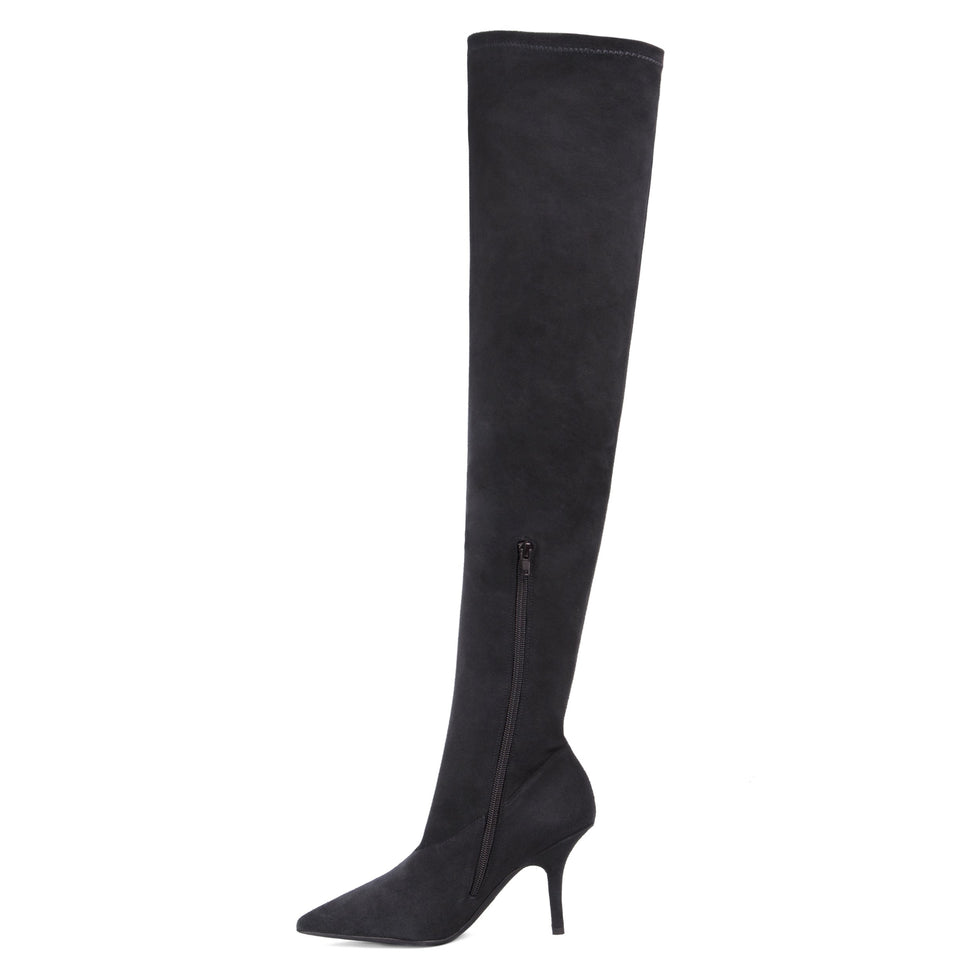 SUEDE THIGH HIGH BOOT GRAPHITE