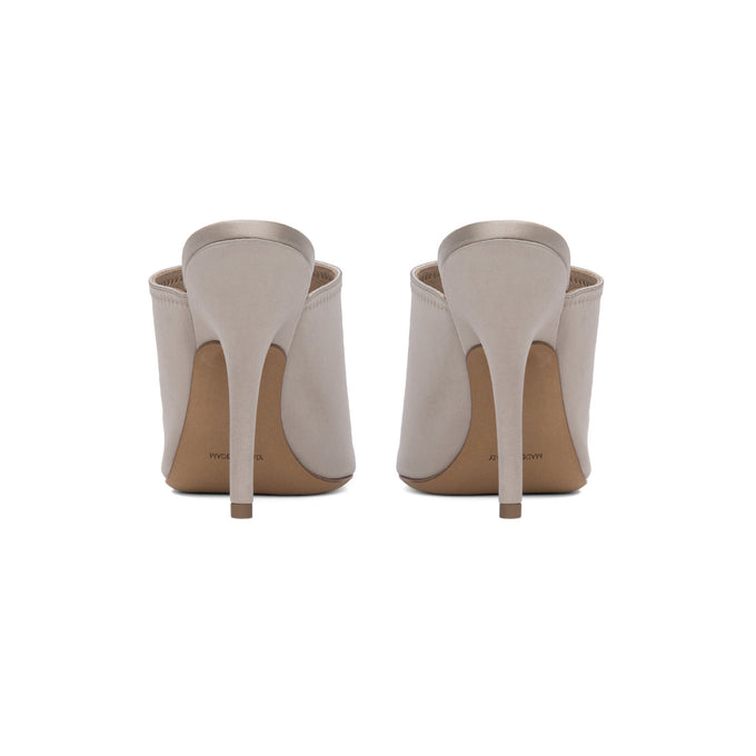 SATIN MULE HIGH HEEL TAUPE