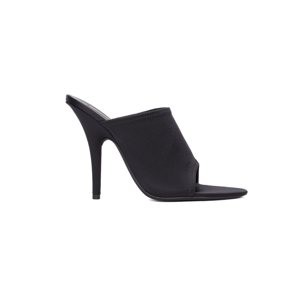 SATIN MULE HIGH HEEL ONYX