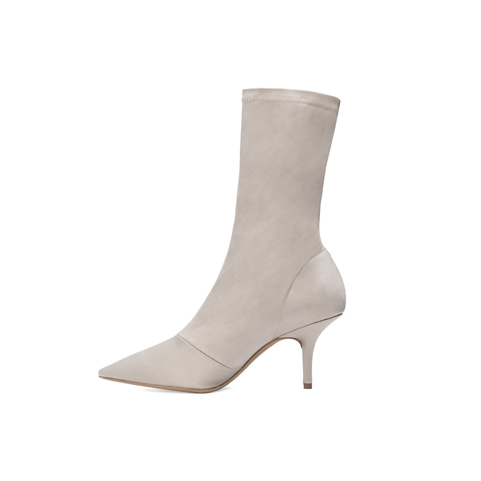 STRETCH SATIN ANKLE BOOT LOW TAUPE