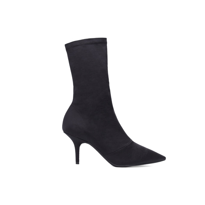 STRETCH SATIN ANKLE BOOT LOW ONYX