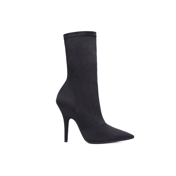 STRETCH SATIN ANKLE BOOT HIGH ONYX
