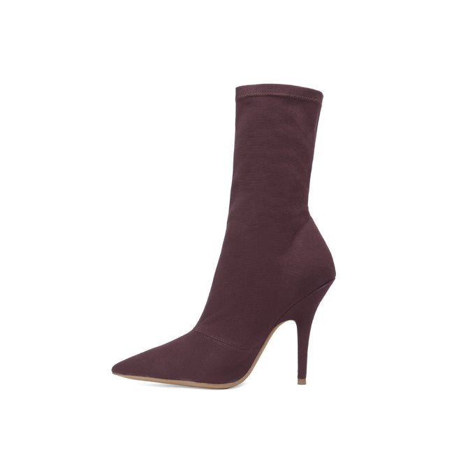 STRETCH CANVAS ANKLE BOOT HIGH OXBLOOD