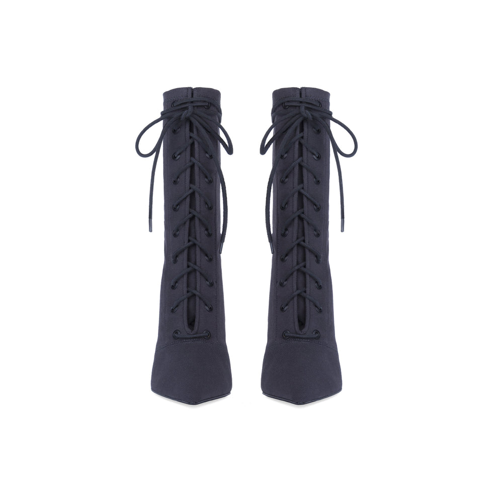 Stretch Canvas Lace Up Boot High Graphite