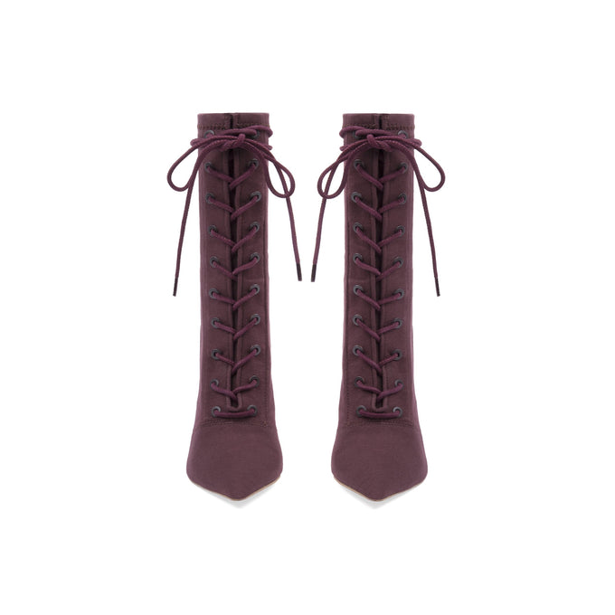 STRETCH CANVAS LACE UP BOOT HIGH OXBLOOD