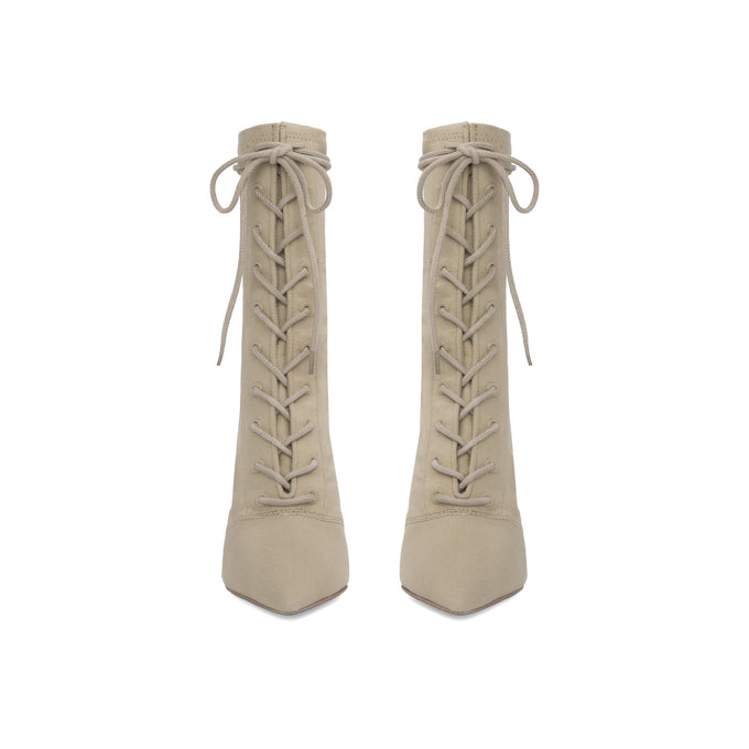 Stretch Canvas Lace Up Boot High Military Light