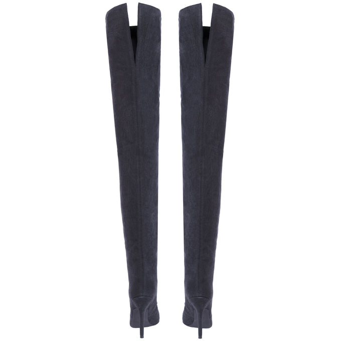 WASHED DENIM TUBULAR THIGH HIGH BOOT GRAPHITE