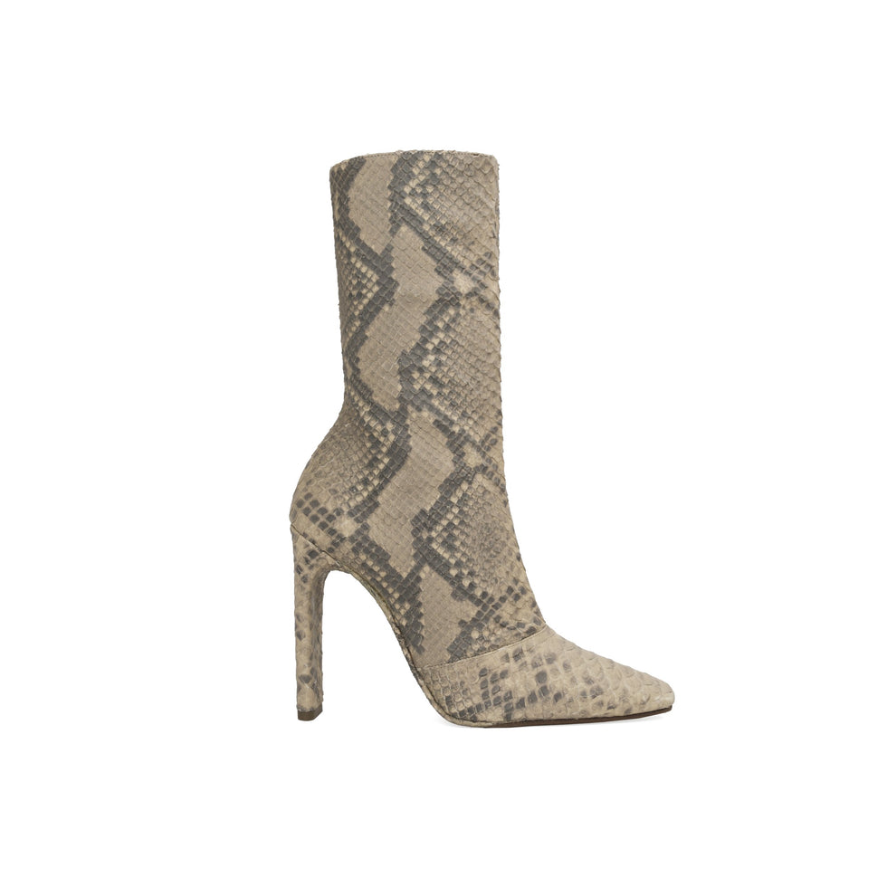 Faux Python Boot Military Dark